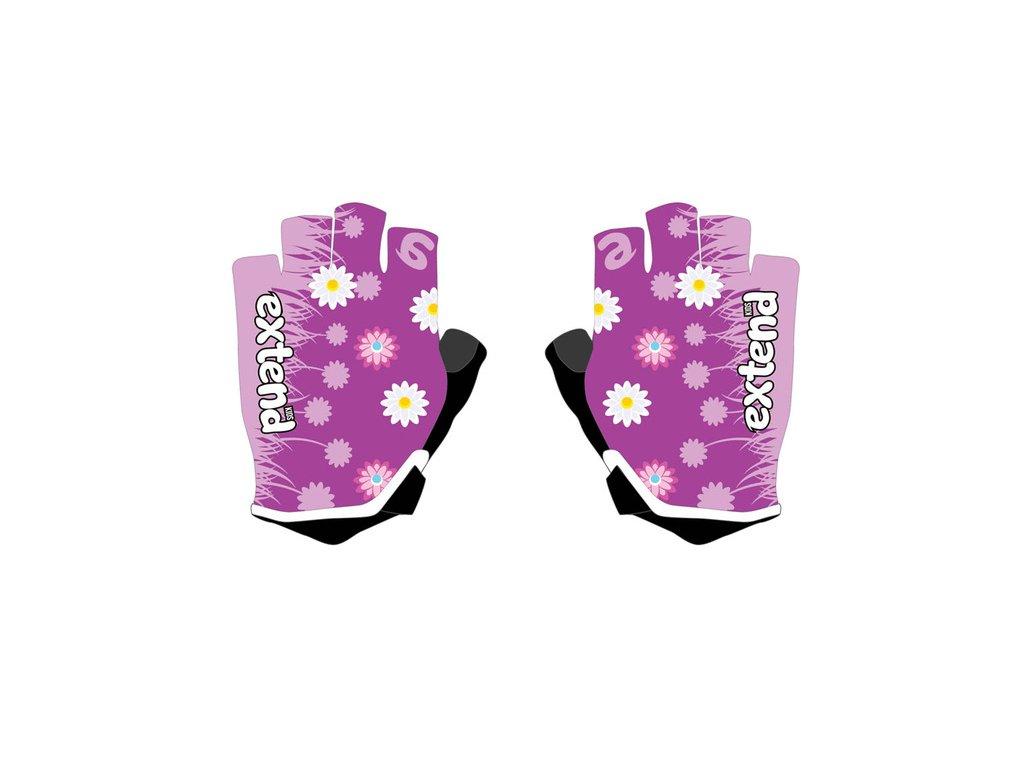 Rukavice detské Extend NUBBI fialové-kvety 4-6r.