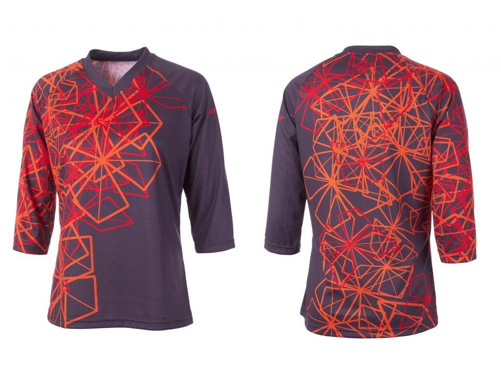 Dres AM 3/4 rukáv dámsky - Grey / Red / Orange