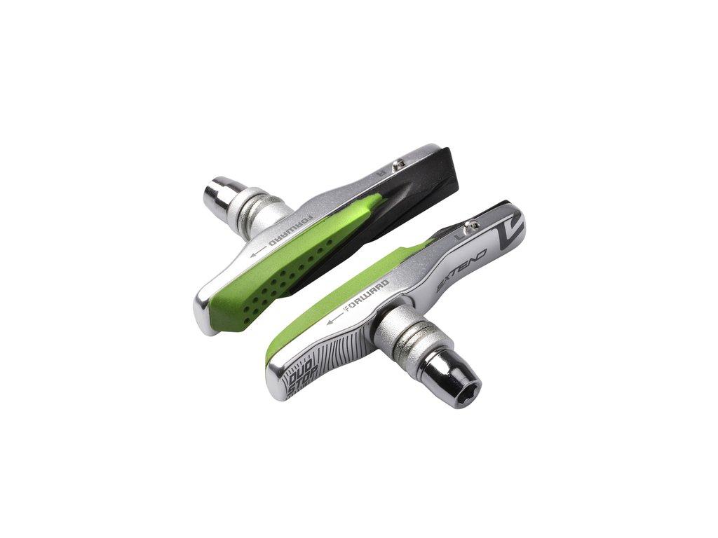 Brzdové klátiky Extend DUOSTOP, vymeniteľné 72mm - strieborné