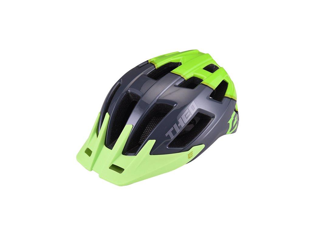 Cyklistická prilba Extend THEO grey-grass green, M/L (58-62cm) shine