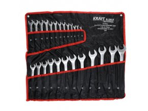 Klíče očko-vidlicové 6-32 CrV 25ks matné v textilním obalu Kraft & Dele