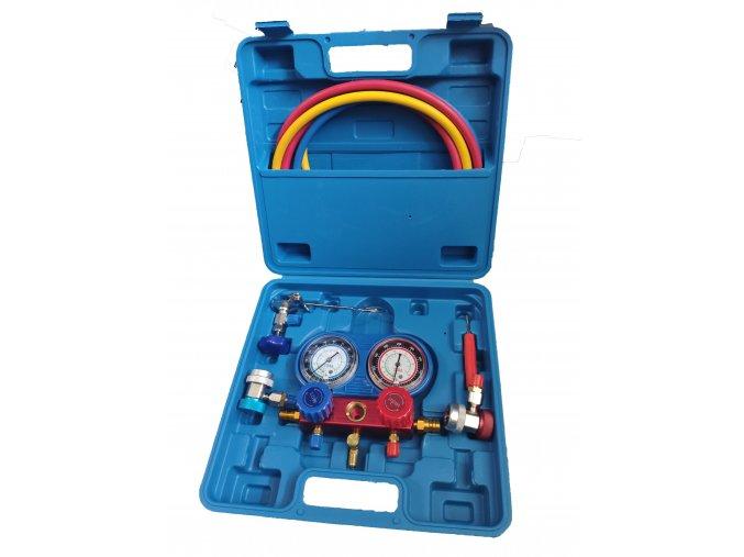Sada na meranie tlaku a tesnosti auto klimatizácií modrá