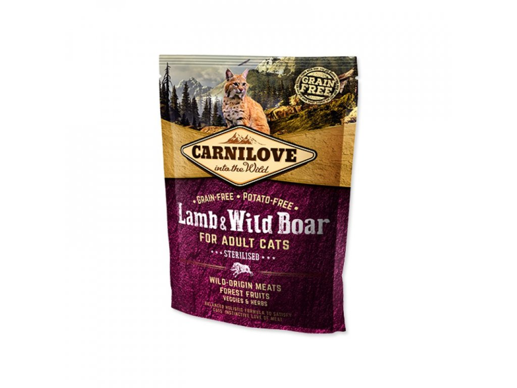 CARNILOVE Lamb And Wild Boad Adult Cats Sterilised 400g