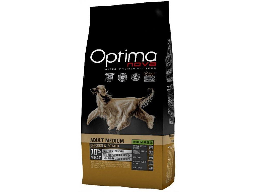 OPTIMAnova dog ADULT MEDIUM GF Chicken12kg  + Dárek křupavé sušenky ZDARMA