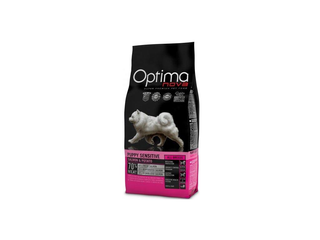 OPTIMAnova dog PUPPY SENSITIVE GF Salmon 12kg  + Dárek křupavé sušenky ZDARMA