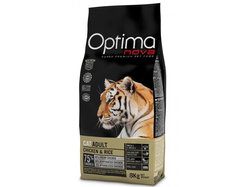 OPTIMAnova CAT ADULT Chicken&Rice 8kg  + Dárek 2x masová kapsička ZDARMA
