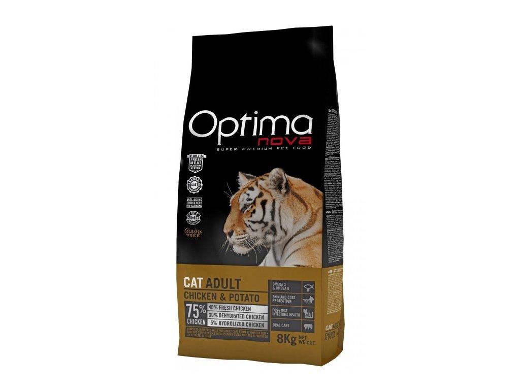 OPTIMAnova CAT CHICKEN GRAIN FREE 8kg  + Dárek 2x masová kapsička ZDARMA