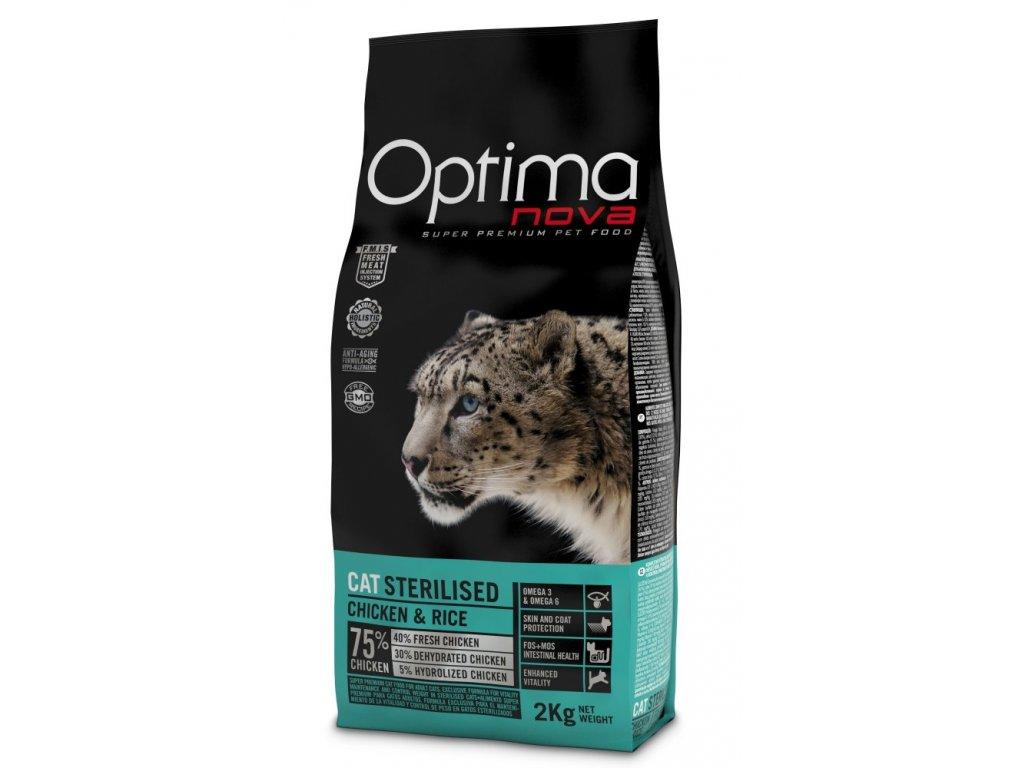 OPTIMAnova CAT STERILISED 8kg  + Dárek 2x masová kapsička ZDARMA