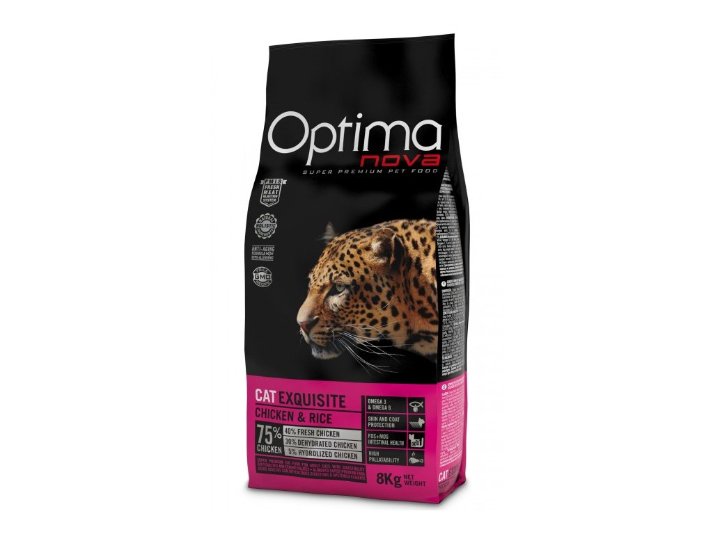 OPTIMAnova CAT EXQUISITE 8kg  + Dárek 2x masová kapsička ZDARMA