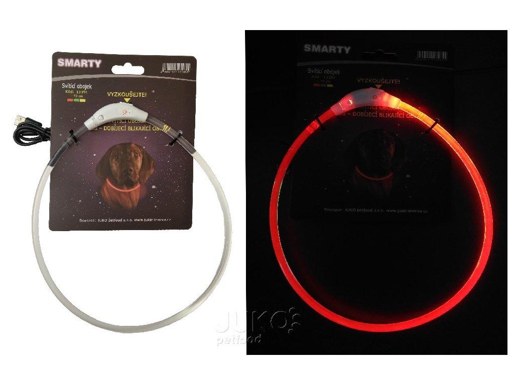 Svítící LED obojek-transparentní-L-70cm-ČERVENÁ