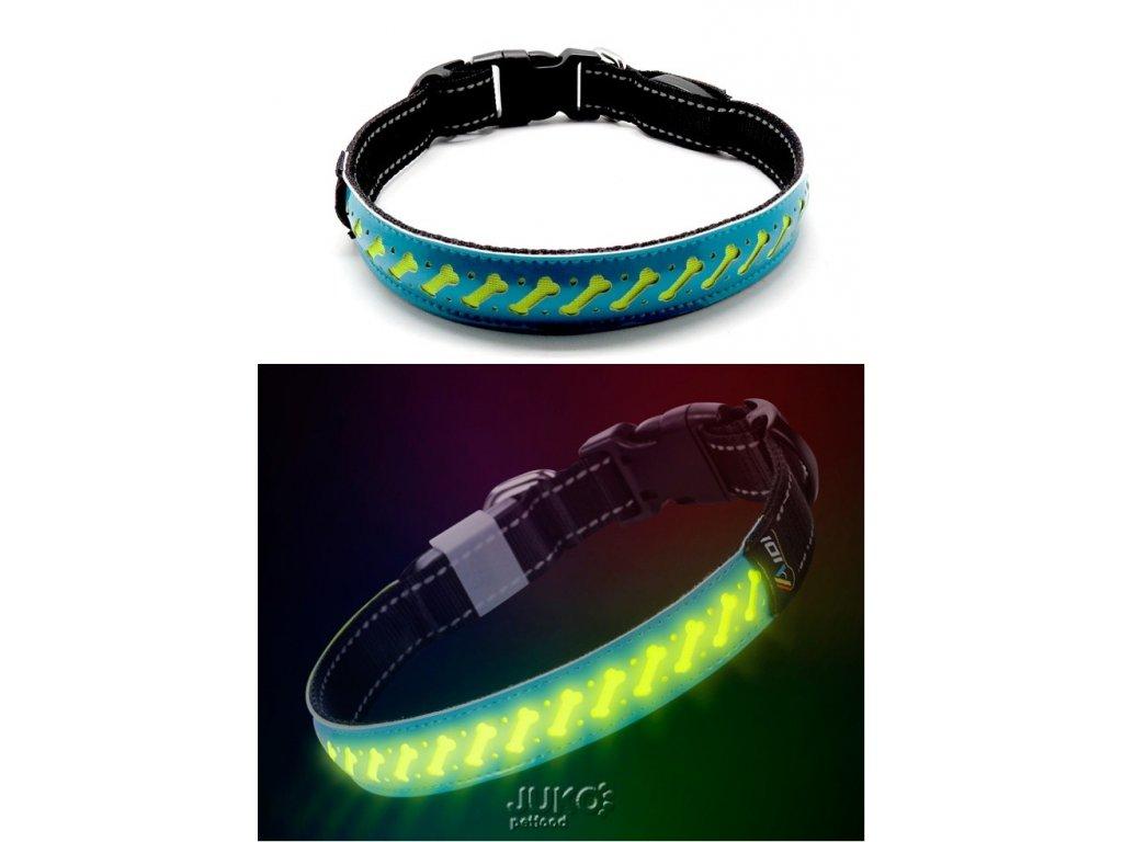 Svítící LED obojek plochý-L-2,5x60cm-MODRÁ