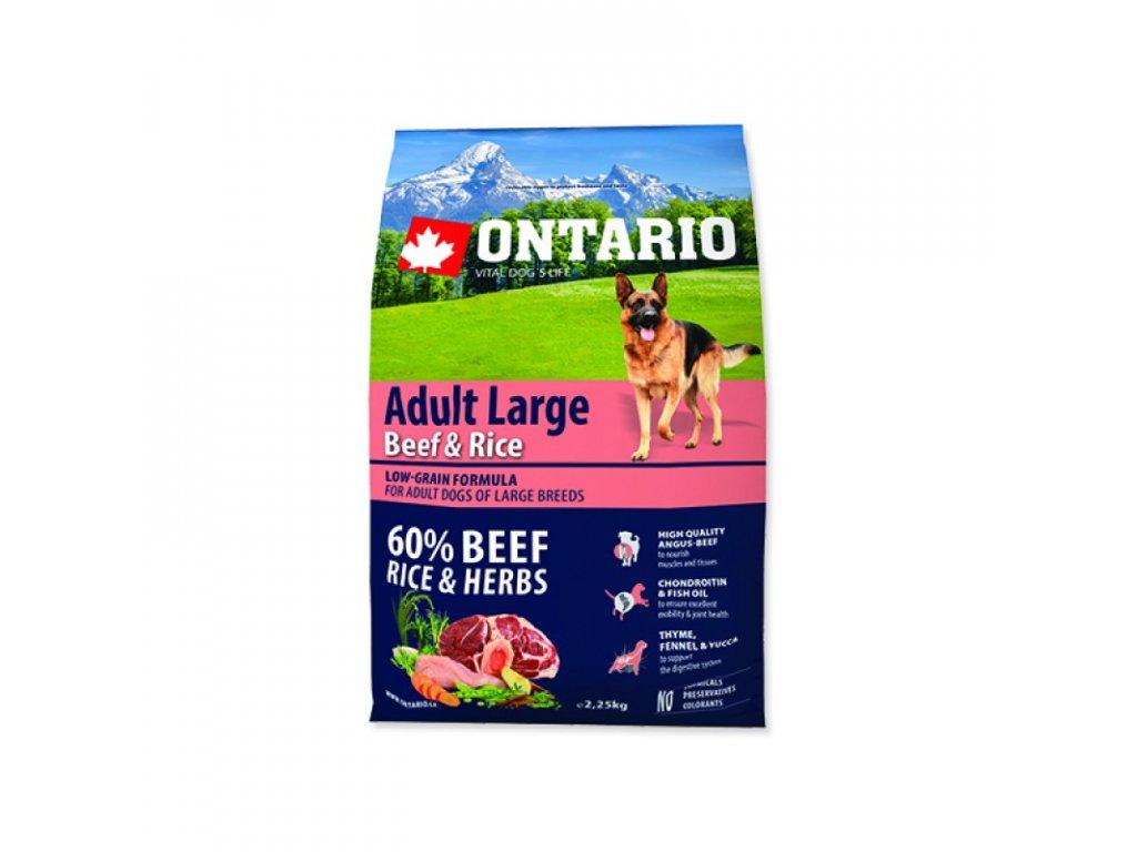 ONTARIO ADULT LARGE BEEF & RICE 2,25kg  Pro registrované věrnostní slevy