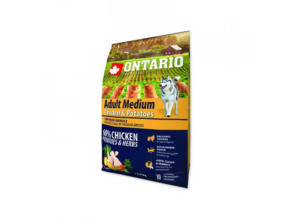 ONTARIO Dog Adult Medium Chicken & Potatoes & Herbs 12kg  - poslední kus skladem  expirace doprodej