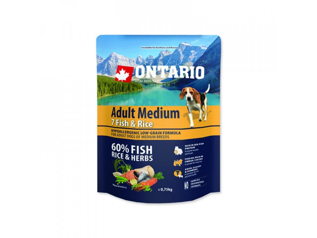 ONTARIO Dog Adult Medium Fish & Rice 12kg - poslední kus skladem  expirace doprodej