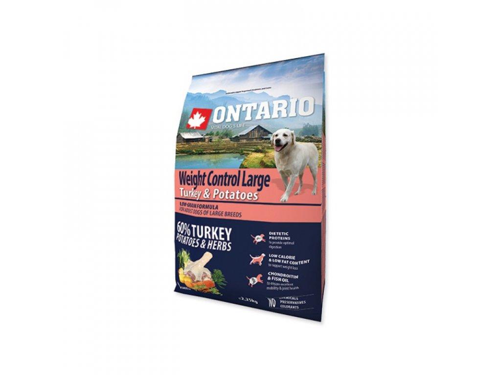 ONTARIO DOG LARGE WEIGHT CONTROL TURKEY & POTATOES & HERBS 2,25kg  Pro registrované věrnostní slevy