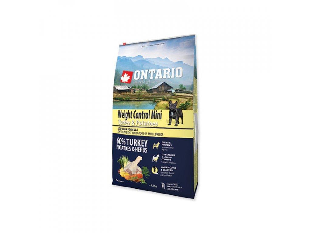ONTARIO DOG MINI WEIGHT CONTROL TURKEY & POTATOES 6,5kg  Pro registrované věrnostní slevy