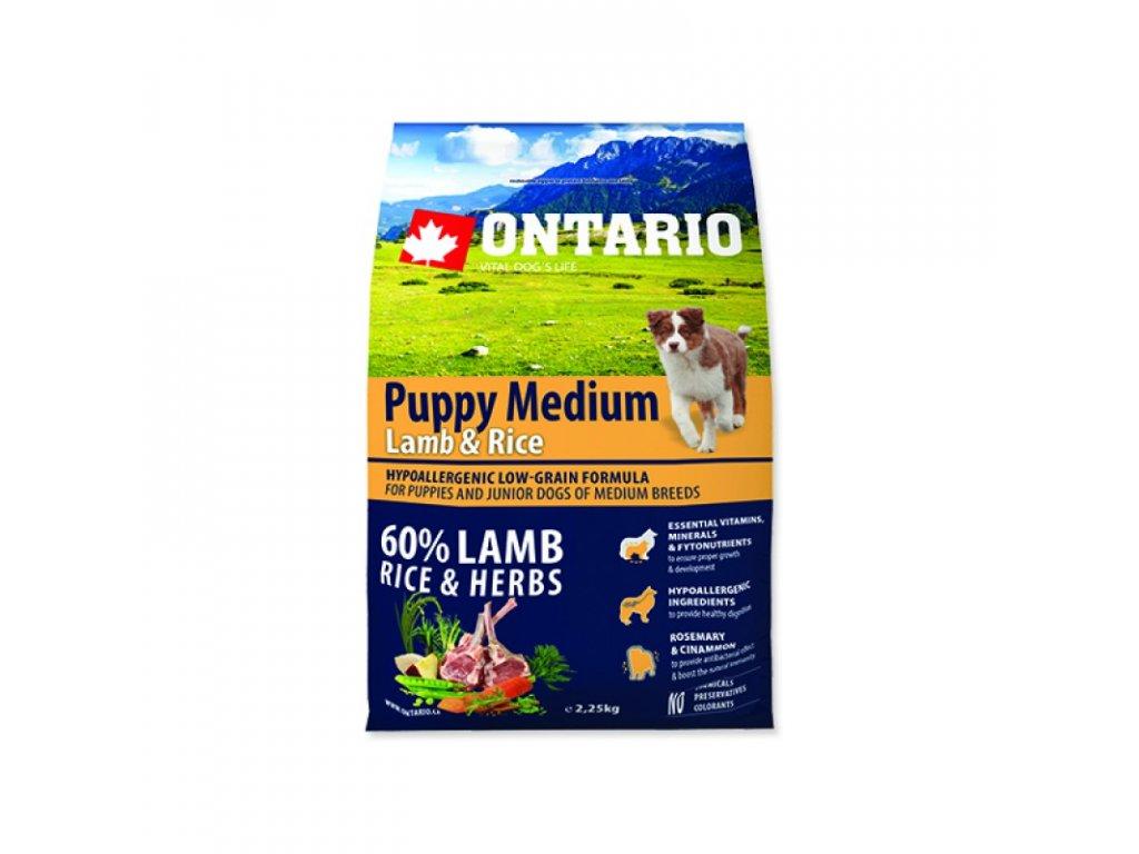 ONTARIO PUPPY MEDIUM LAMB & RICE 2,25kg  Pro registrované věrnostní slevy