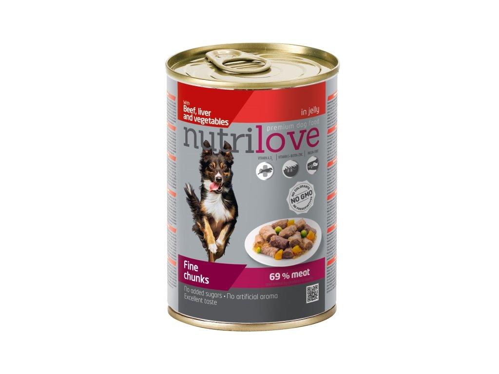 Nutrilove Dog konzerva Kousky hovězí, játra a zelenina 415 g  sleva 2% při registraci