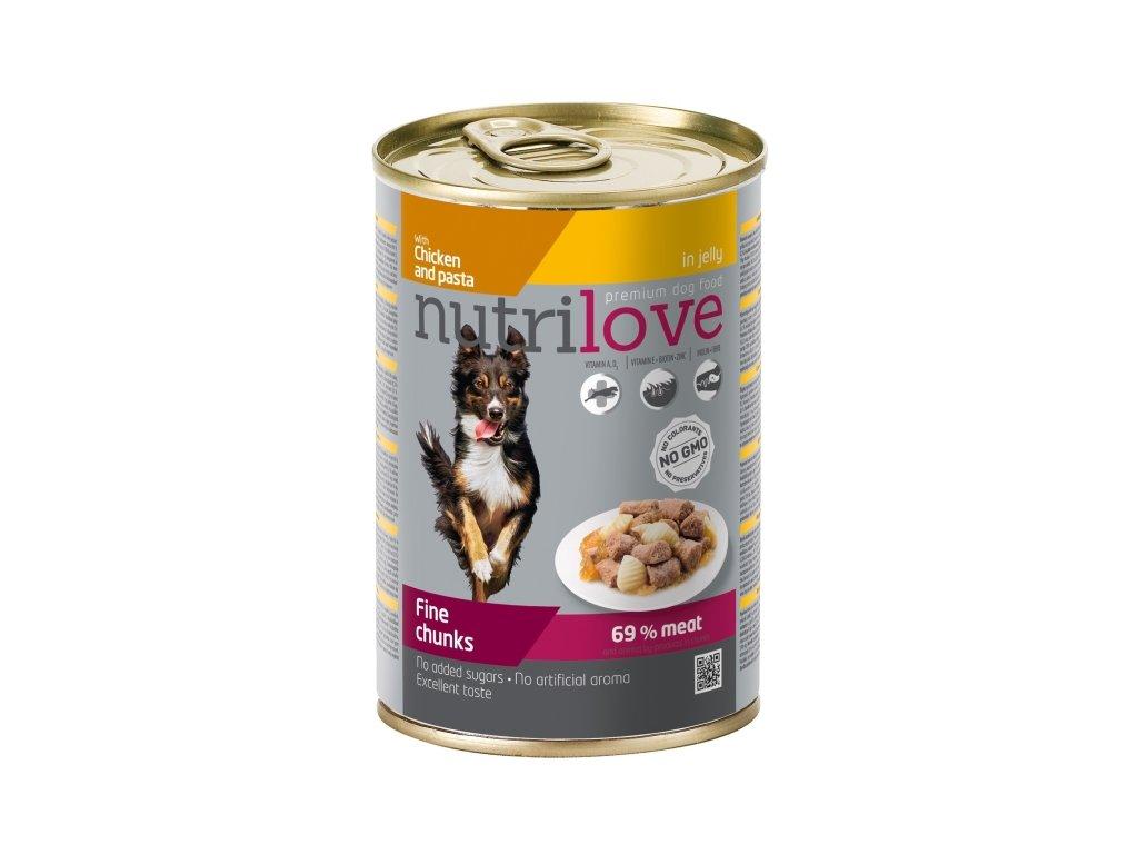 Nutrilove Dog konzerva Kuřecí maso a těstoviny 415 g  sleva 2% při registraci
