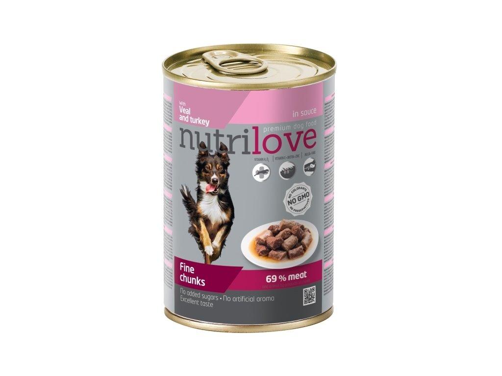 Nutrilove Dog konzerva Telecí  Krůtí v omáčce 400 g  sleva 2% při registraci