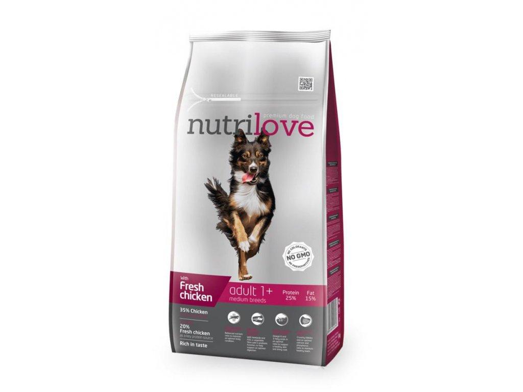 Nutrilove pes granule ADULT Medium fresh kuřecí 8kg  + Dárek 2x masová kapsička ZDARMA
