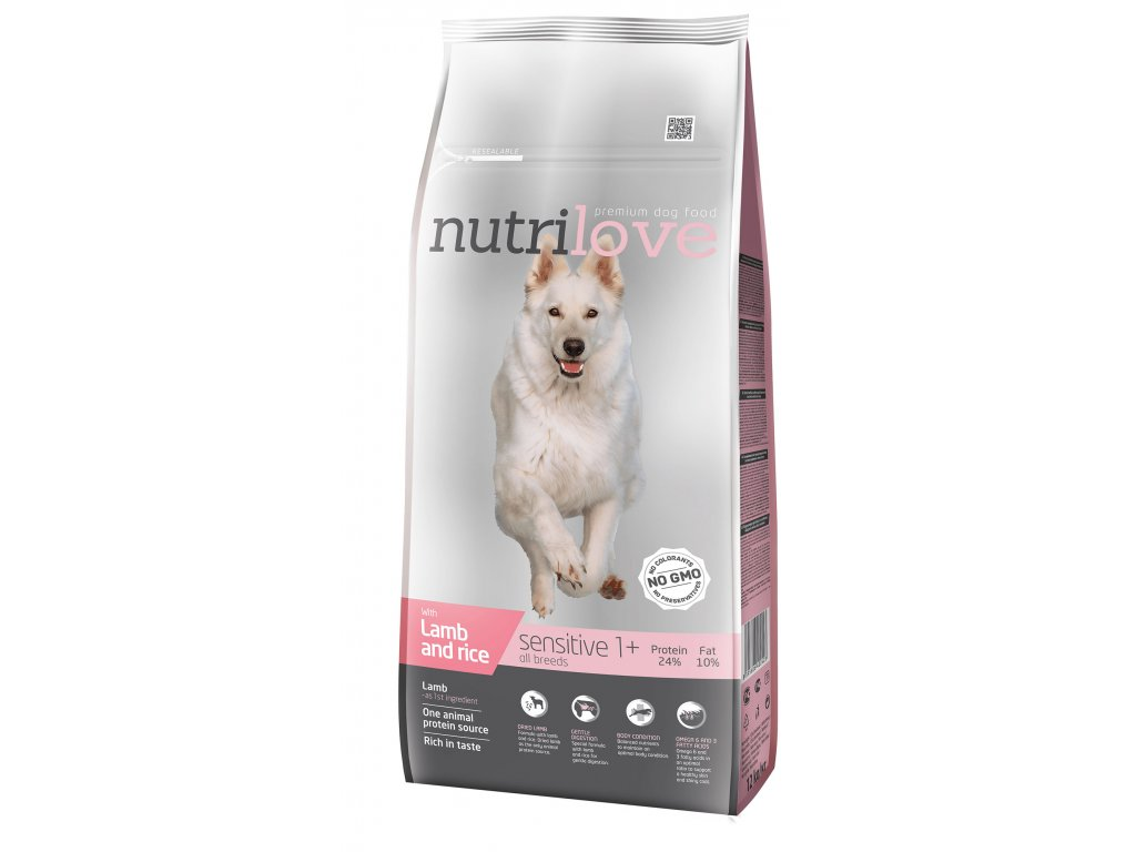Nutrilove pes granule SENSITIVE jehněčí+rýže 12kg  + Dárek 2x masová kapsička ZDARMA