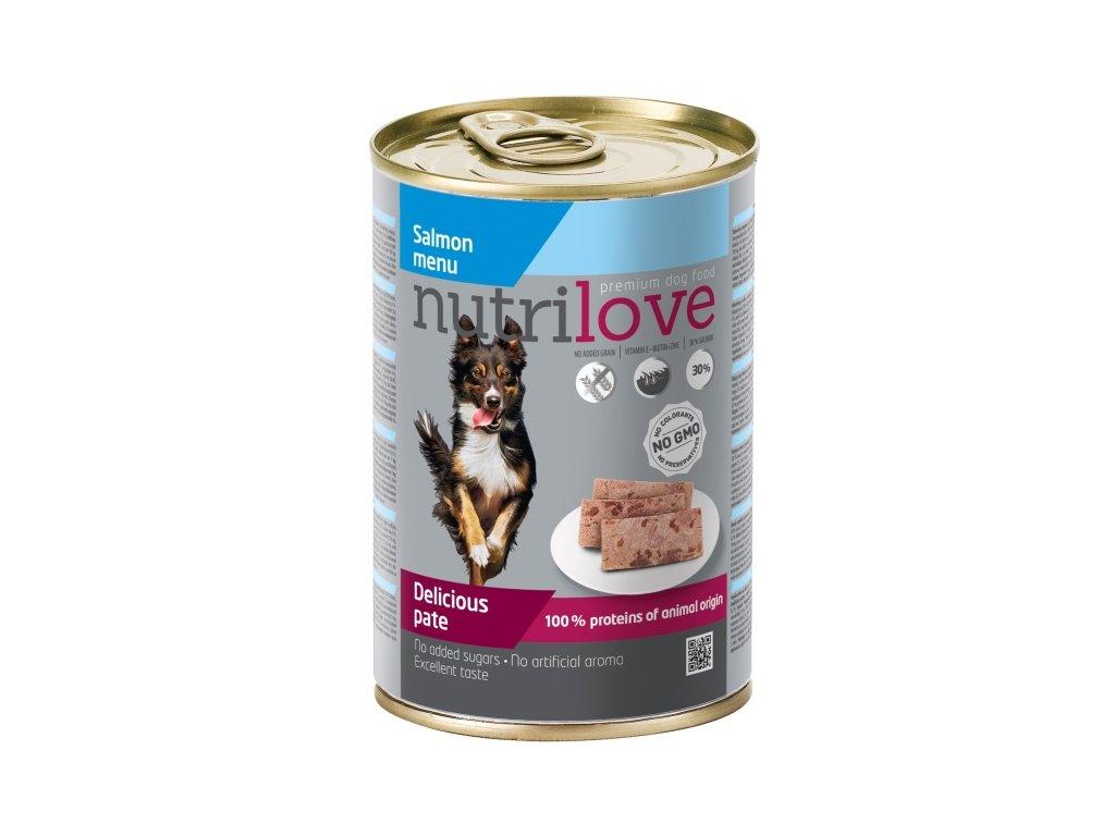 Nutrilove Dog paté konzerva Losos 400 g  sleva 2% při registraci