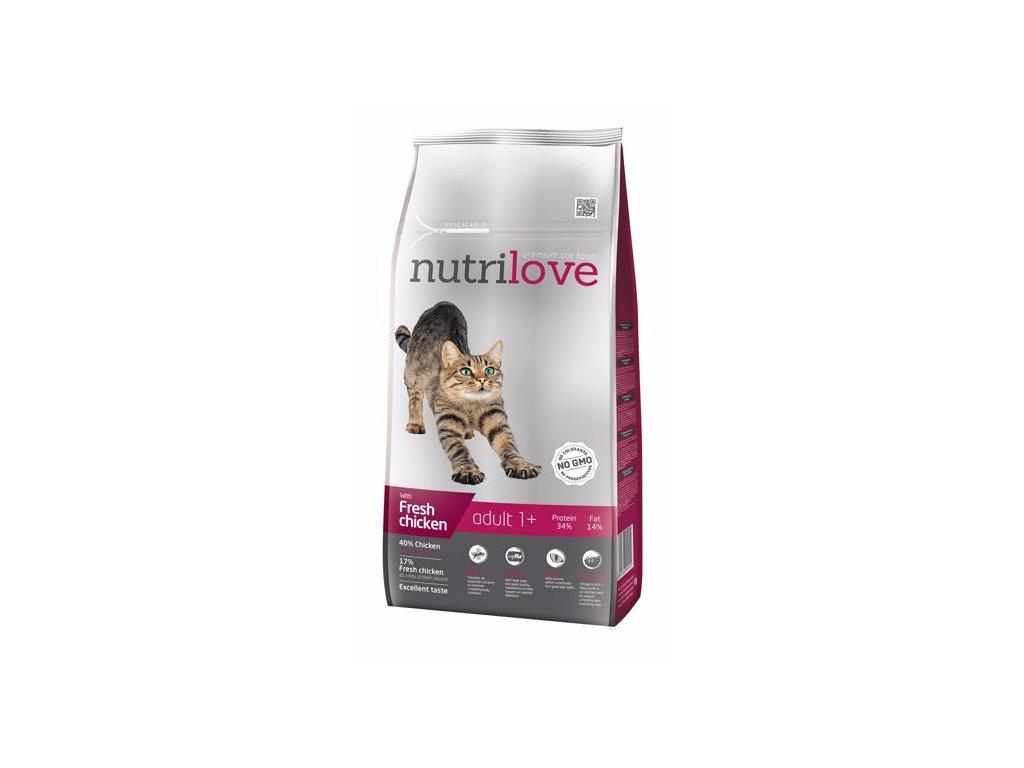 Nutrilove kočka granule ADULT fresh kuřecí 8kg  + Dárek 2x masová kapsička ZDARMA