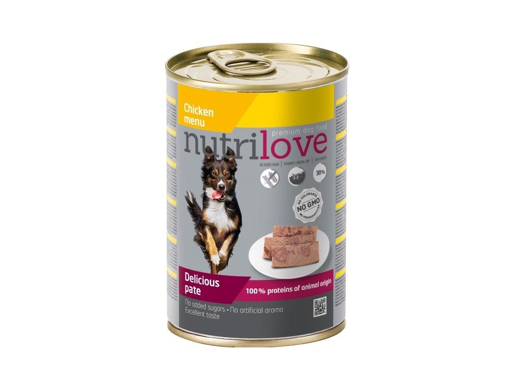 Nutrilove Dog paté konzerva Kuřecí maso 400 g  sleva 2% při registraci