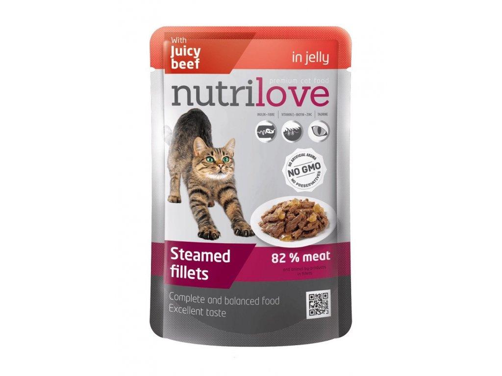 Nutrilove kočka kapsička, želé hovězí 85g  sleva 2% při registraci