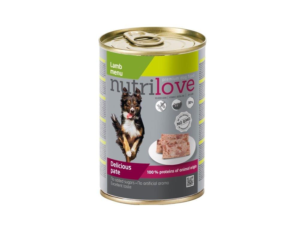 Nutrilove Dog paté konzerva Jehněčí 400 g  sleva 2% při registraci