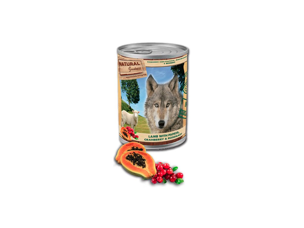 Natural Greatness jehněčí,papaya,brusinky pro psy 400 g