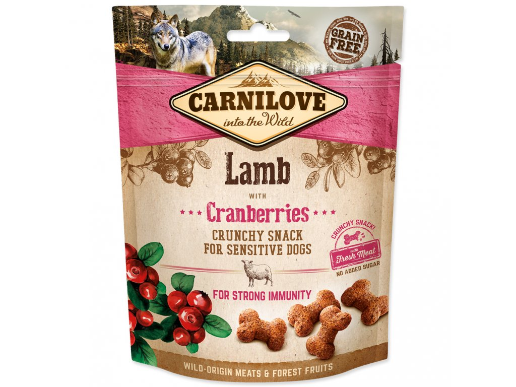 Carnilove Dog Crunchy Snack Lamb with Cranberries with fresh meat 200 g  Lahodný pamlsek z jehněčího masa vhodný pro citlivé psy.S brusinkami, přírodním zdrojem antioxidantů pro silnou imunitu.Bez obilovin a přidaného cuk