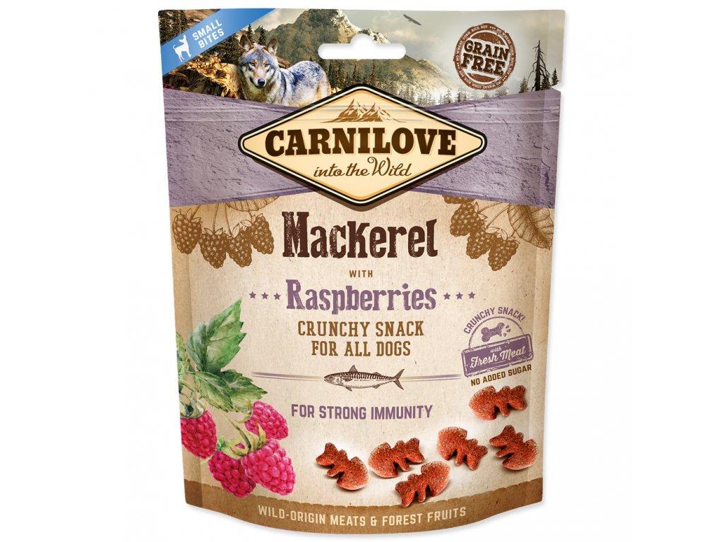 Carnilove Dog Crunchy Snack Mackerel with Raspberries with fresh meat 200 g  Lahodný pamlsek z makrely smalinami, přírodním zdrojem antioxidantů pro silnou imunitu. Vhodný pro všechny psy.Bez obilovin a přidaného cukru.