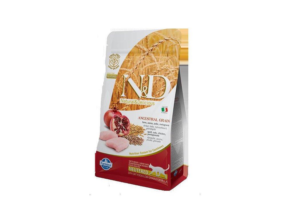 N&D LG CAT Neutered Chicken & Pomegranate  sleva 2% při registraci