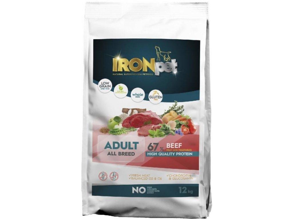 IRONpet BEEF Adult All Breed 12kg  Superprémiové bezlepkové granule pro psy s vysokým podílem masa