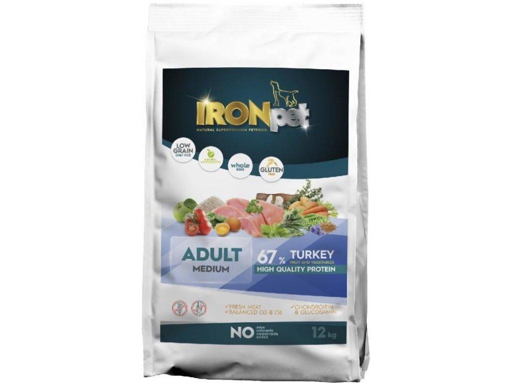 IRONpet TURKEY Medium Adult 12kg  + Dárek 300g hovězí masové paté ZDARMA