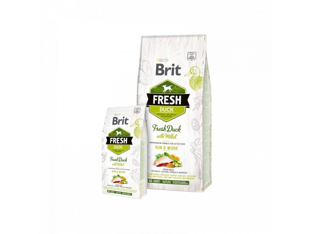 Brit Fresh Duck with Millet Adult Run & Work  Kvalitní a chutné superprémiové granule pro aktivní psy a psy v rekonvalescenci s čerstvou kachnou s prosem, cuketou, špenátem, měsíčkem lékařským. Ko