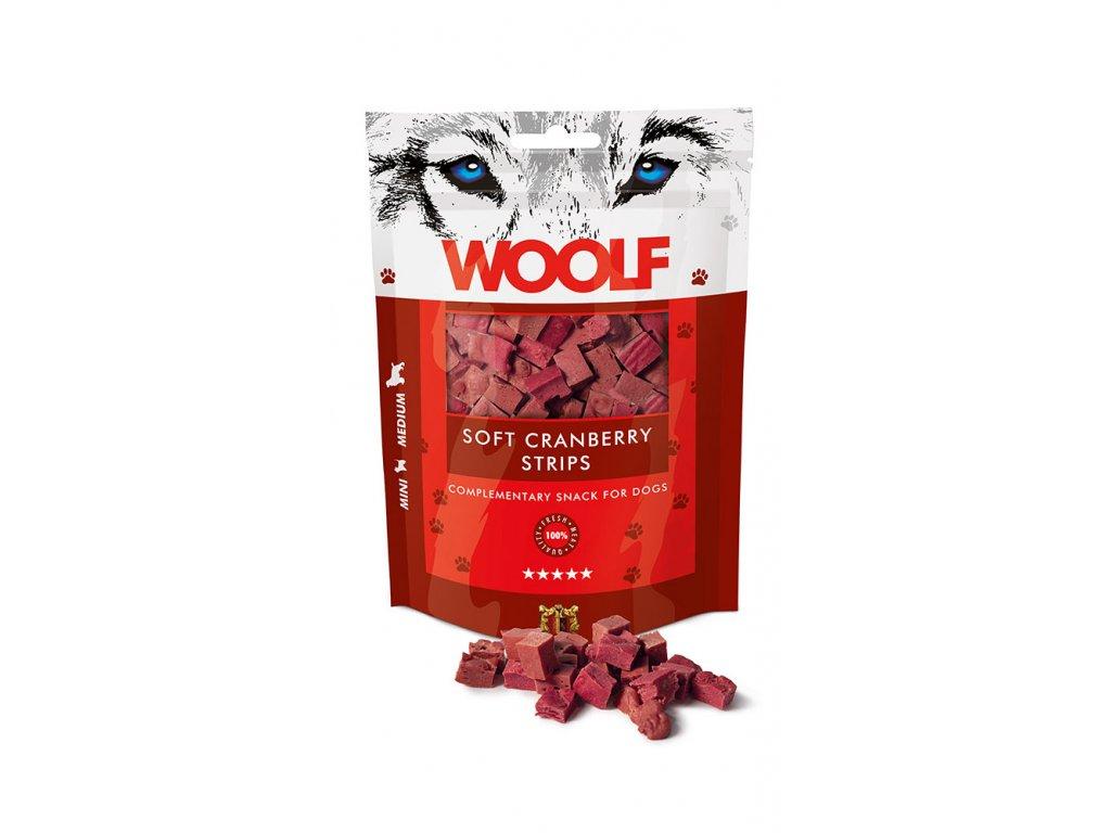 WOOLF pochoutka Soft Cranberry Strips 100 g  Vysoce kvalitní masový pamlsek pro psy