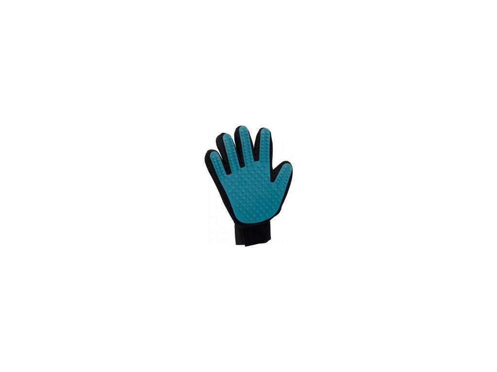 Pečující masážní rukavice černo/modrá 16 x 24 cm