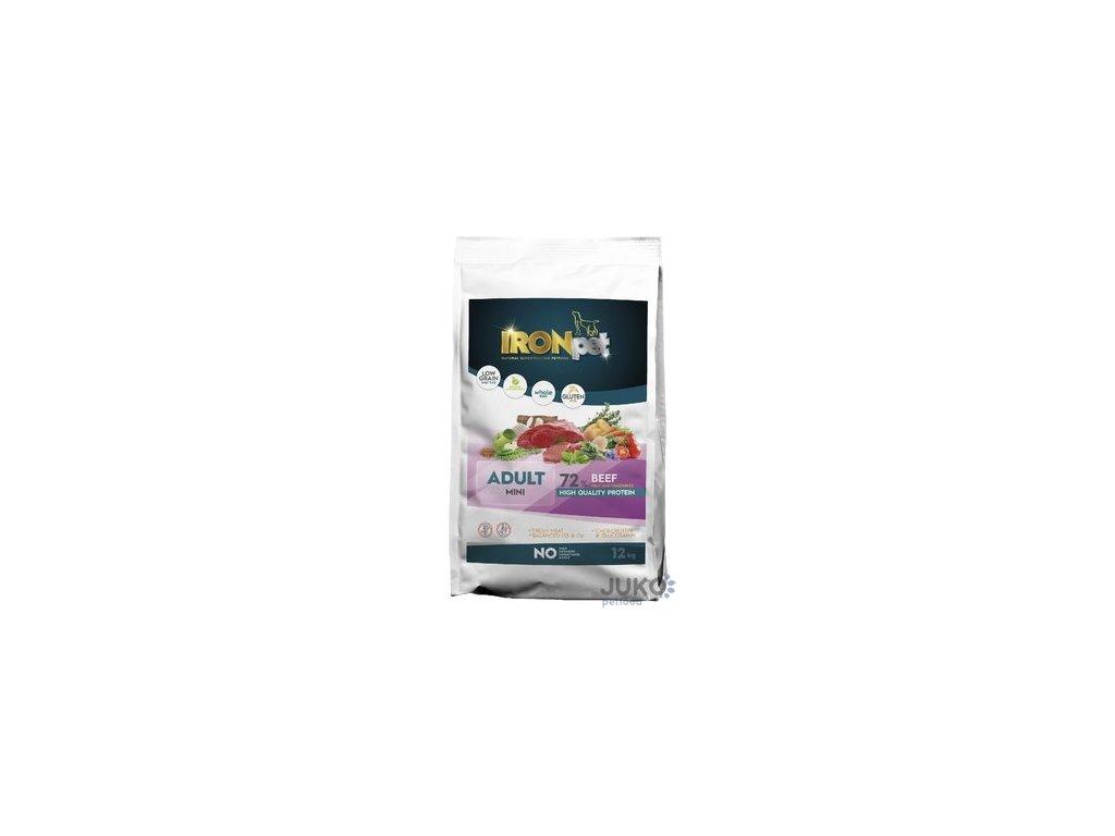 IRONpet BEEF Mini Adult 12kg - výprodej, exp. 07/21  + Dárek 300g hovězí masové paté ZDARMA