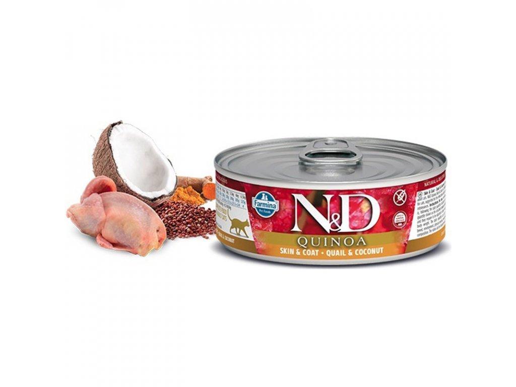 N&D CAT QUINOA Adult Quail & Coconut 80g  krmivo pro zvláštní účely výživy určené k podpoře omezení intolerance určitých komponentů a živin.