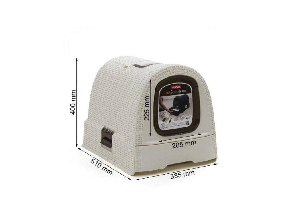 Curver WC kočka kryté domek Rattan 39x39x51cm vintage