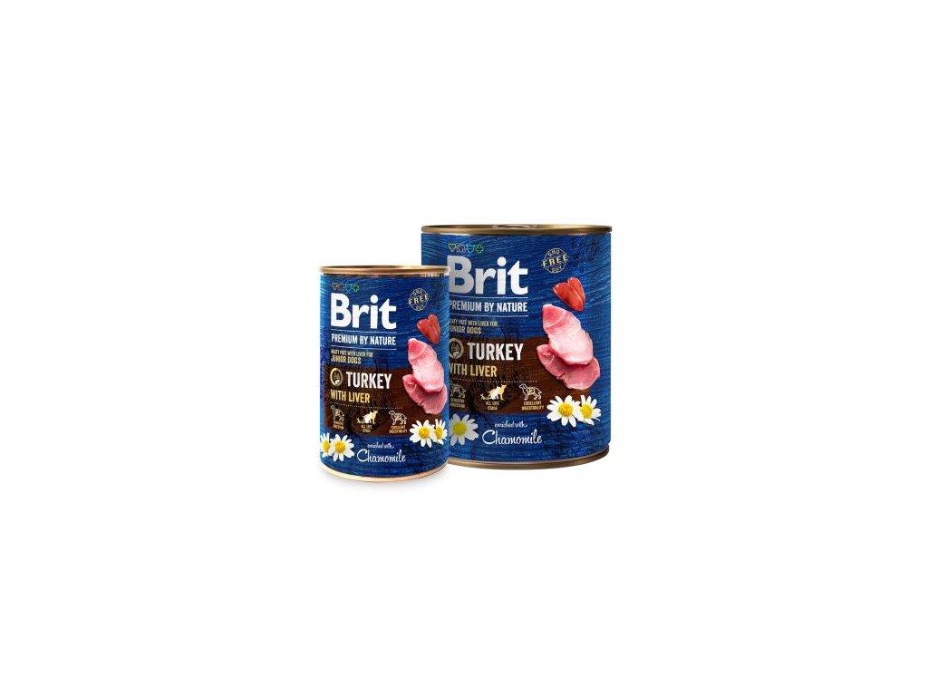 Brit Premium Dog by Nature konz Turkey & Liver  masové kvalitní konzervy pro psy