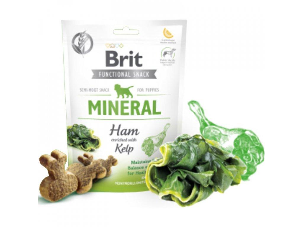 Brit Care Dog Functional Snack Mineral Ham Puppies150g  Lahodné a výživové masové pamlsky pro psy