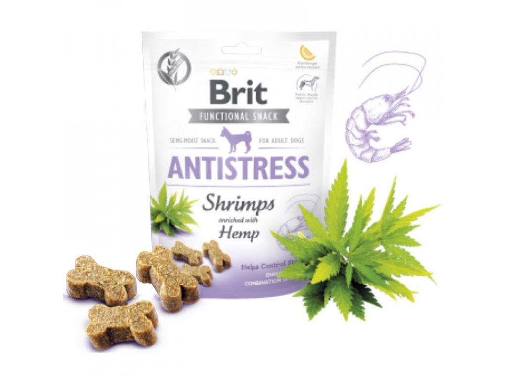 Brit Care Dog Functional Snack Antistress Shrimps 150g  Lahodné a výživové masové pamlsky pro psy