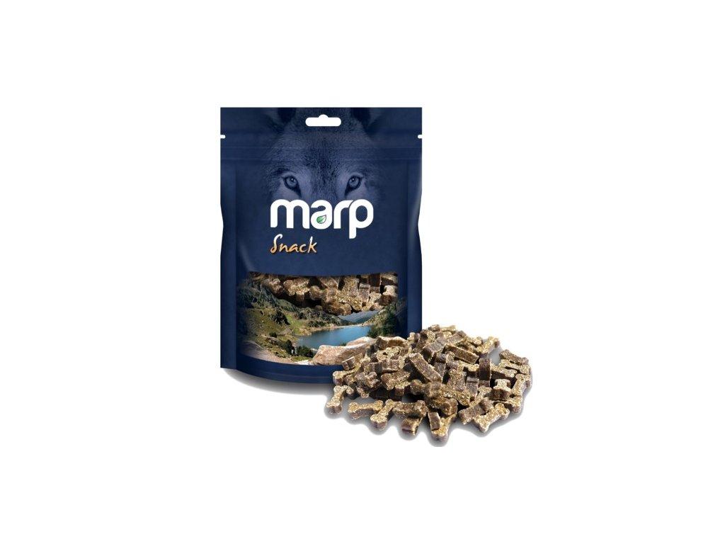 Marp Snack - pamlsky s hovězím masem 150g  100% kvalitní český sušený pamlsek, který zachovává v sobě vitamíny a vše potřebné. Zároveň přispívá ke zdravějšímu chrupu