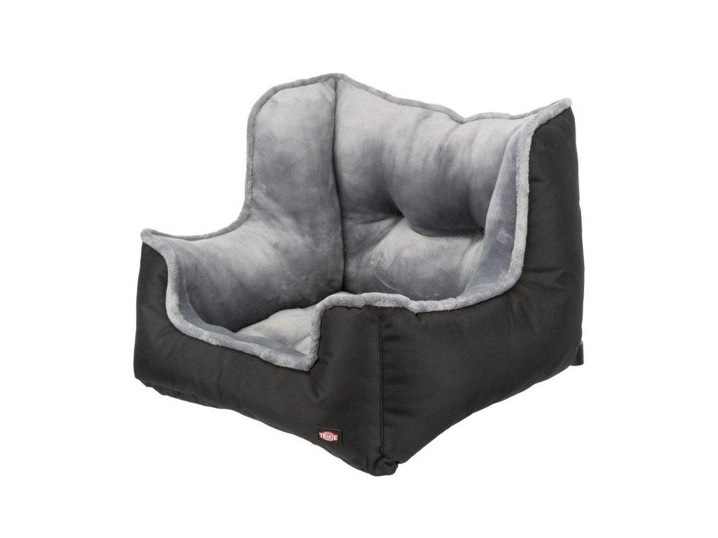 Autosedačka/cestovní pelech pro psy, 50 x 40 x 50 cm, černá/šedá
