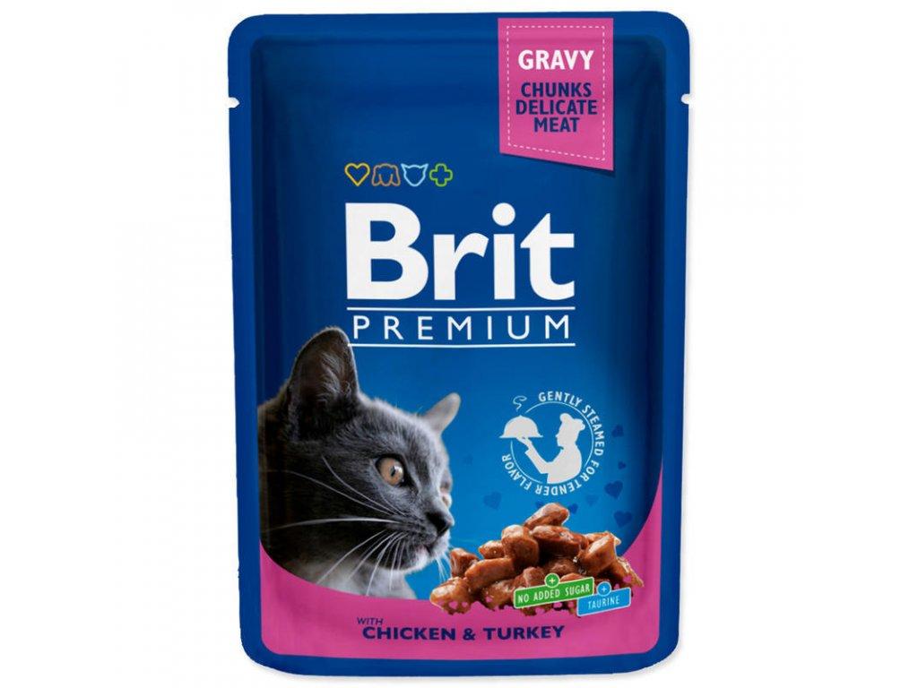 Brit Premium Cat kapsa with Chicken & Turkey 10x100g -  výhodné balení  výhodné balení