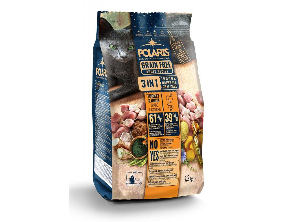 Polaris Cat Adult 3in1 krůta & kachna 1,2 kg  + Dárek masová hovězí kapsička Dax ZDARMA
